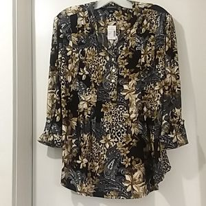 COCOMO DRESSBARN NWT blouse animal print Large